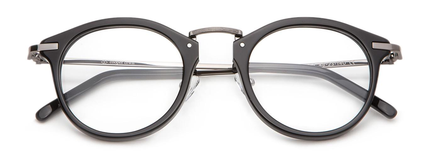 chelsea acetate fashion eyeglasses in black cooper crwn